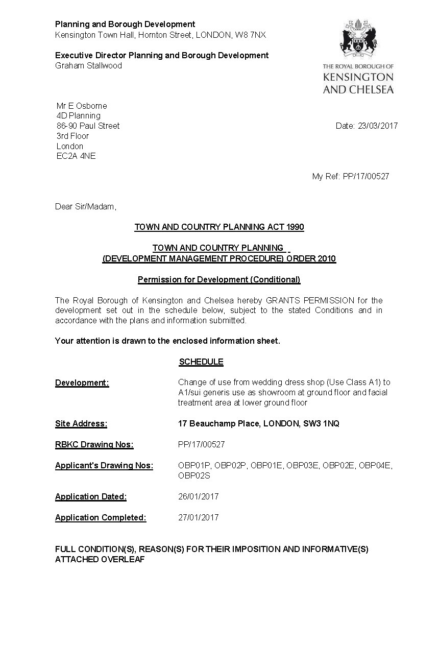 Decision notice - RBKC - change of use