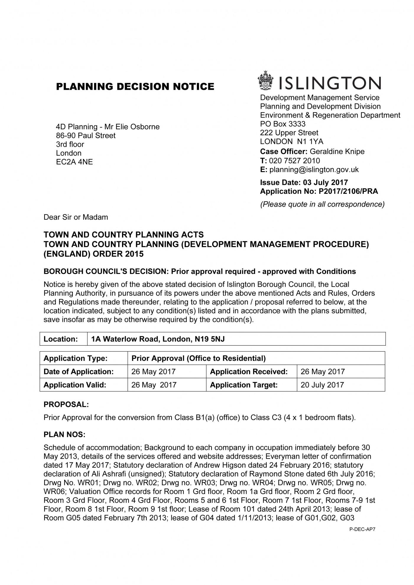 decision notice - B1-C3 - Islington