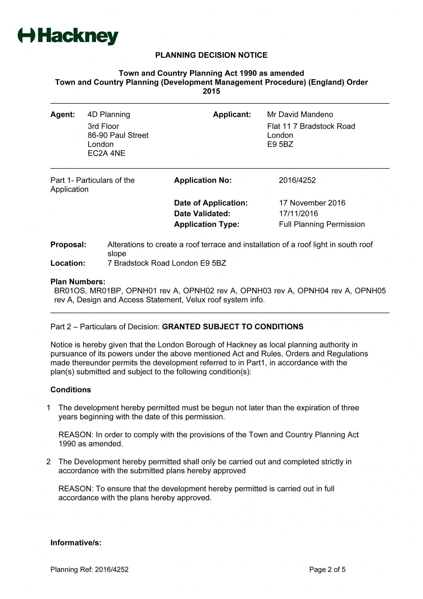 decision notice - Hackney - roof terrace -1
