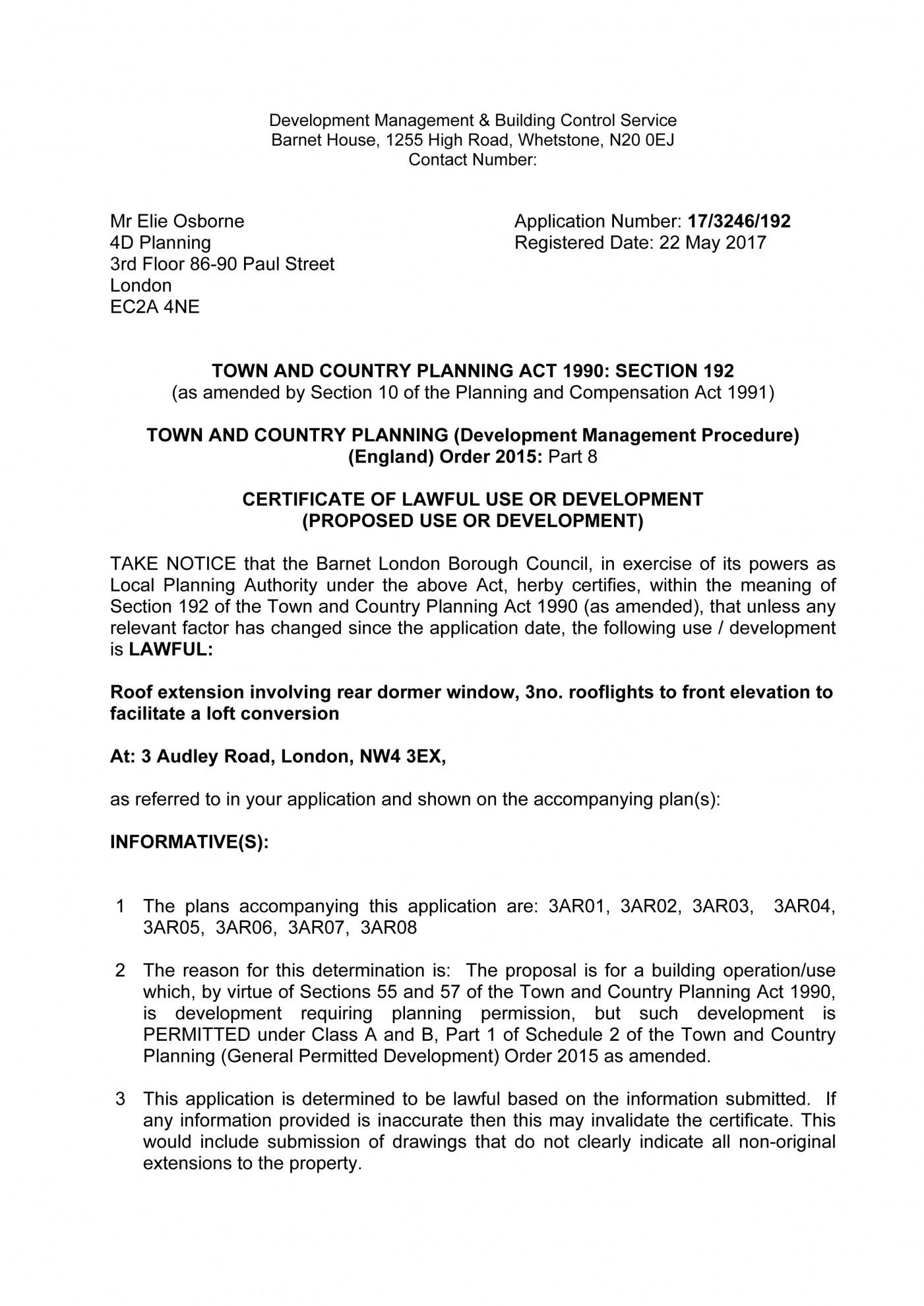 decision notice - Barnet - lawful development certificate for loft conversion