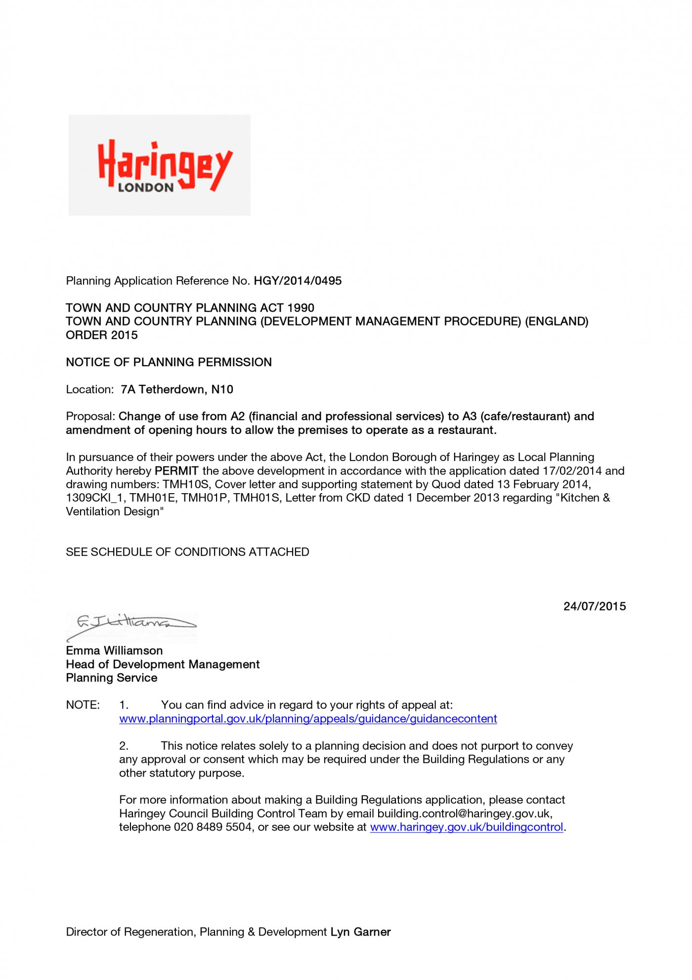 decision notice - Change of use from A2 to A3 Restaurant