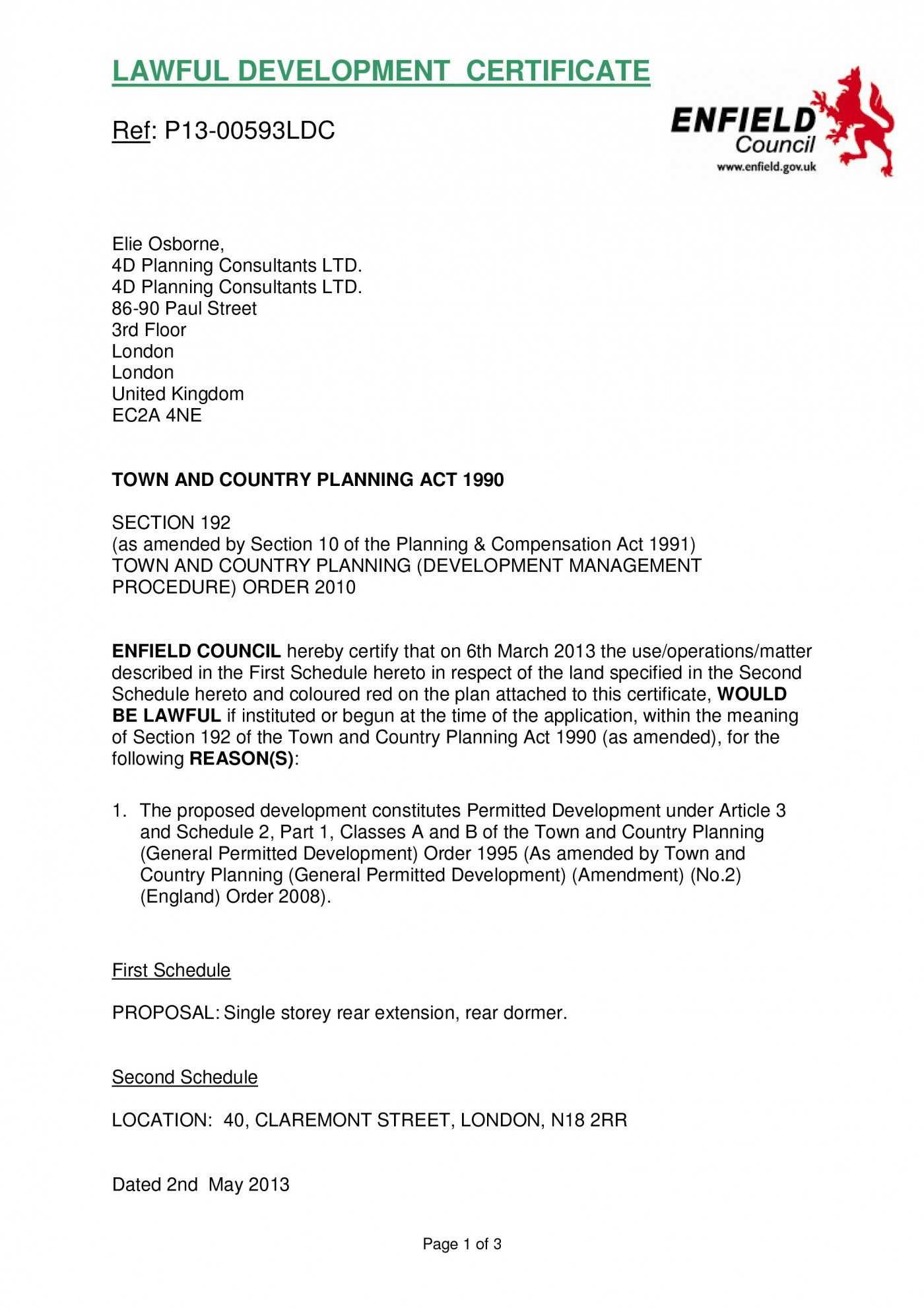 decision notice - Enfield Council - single storey rear extension, rear dormer
