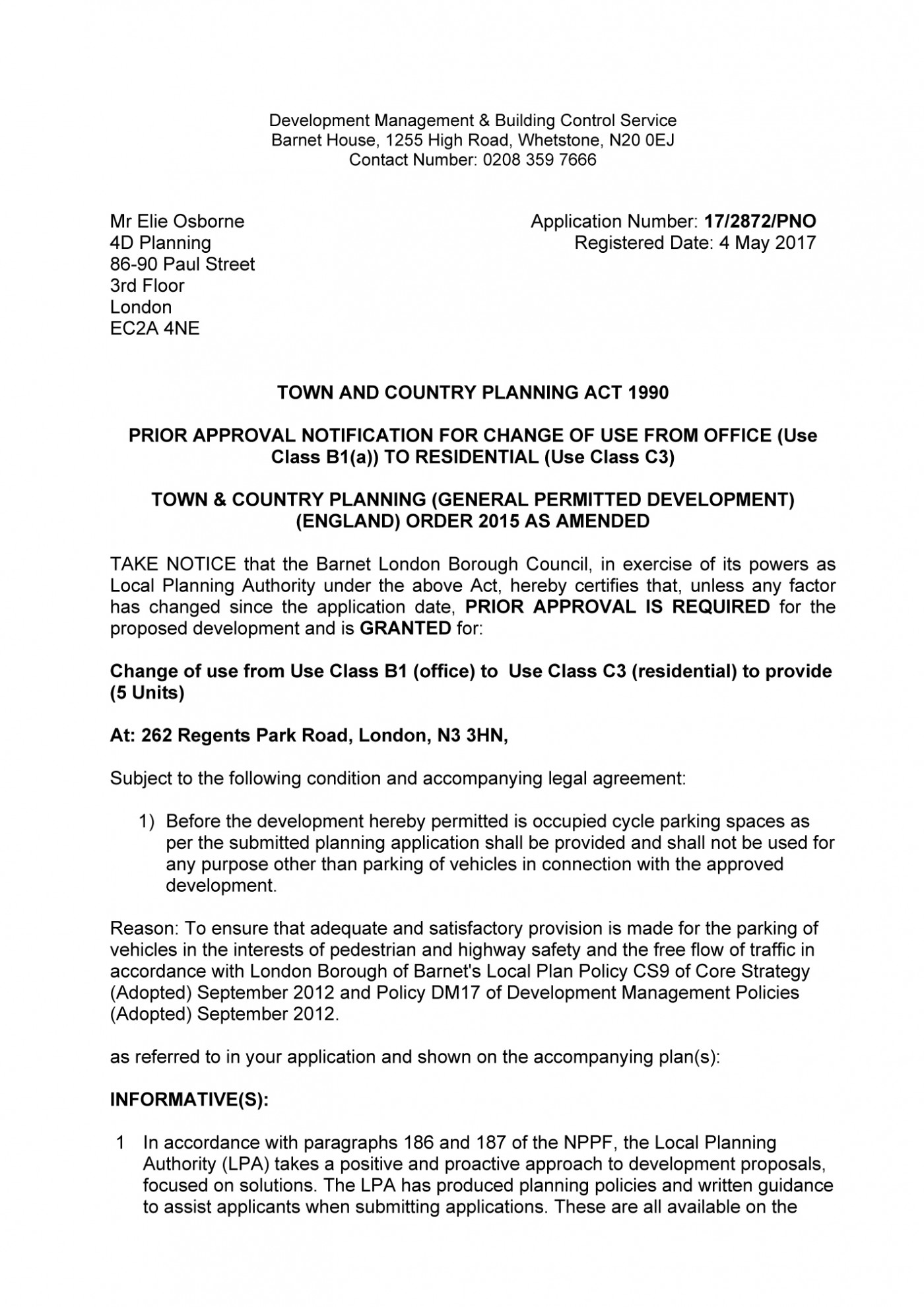 decision notice - Barnet Council - Change of use B1 to C3