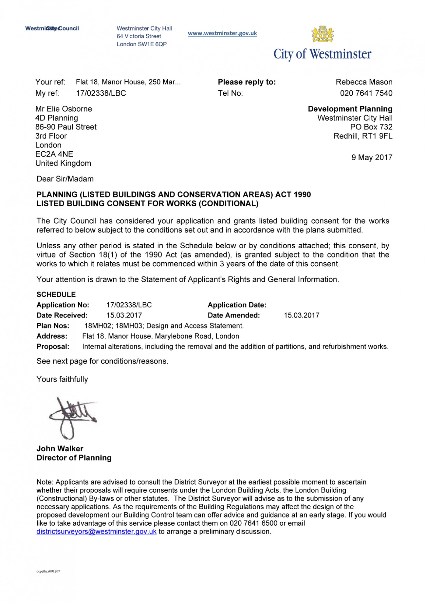 decision notice - Westminster Council