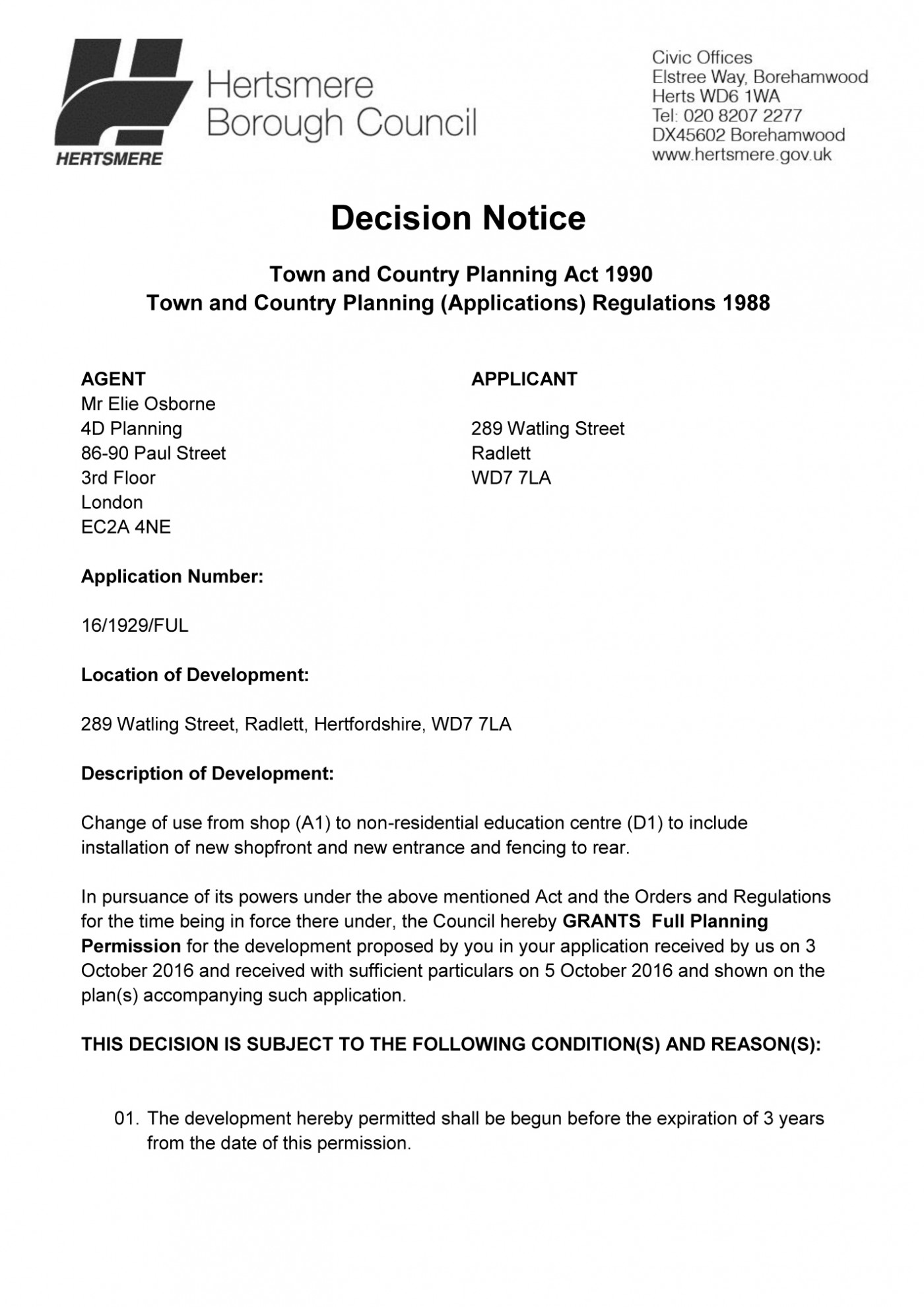 decision notice - Hertsmere