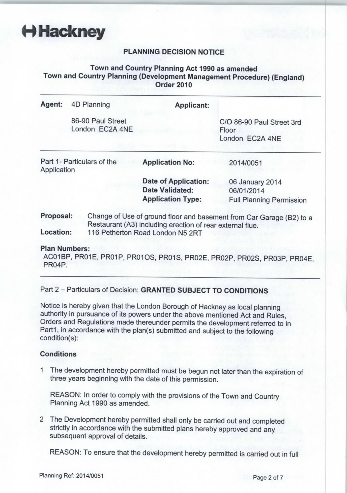 Decision notice - Hackney
