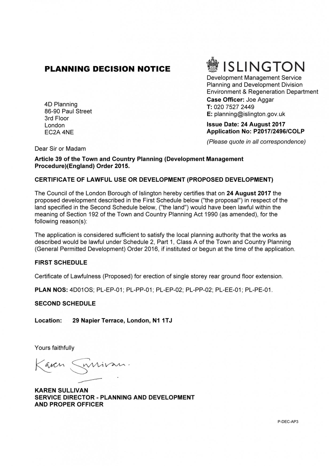 decision notice - Islington Council