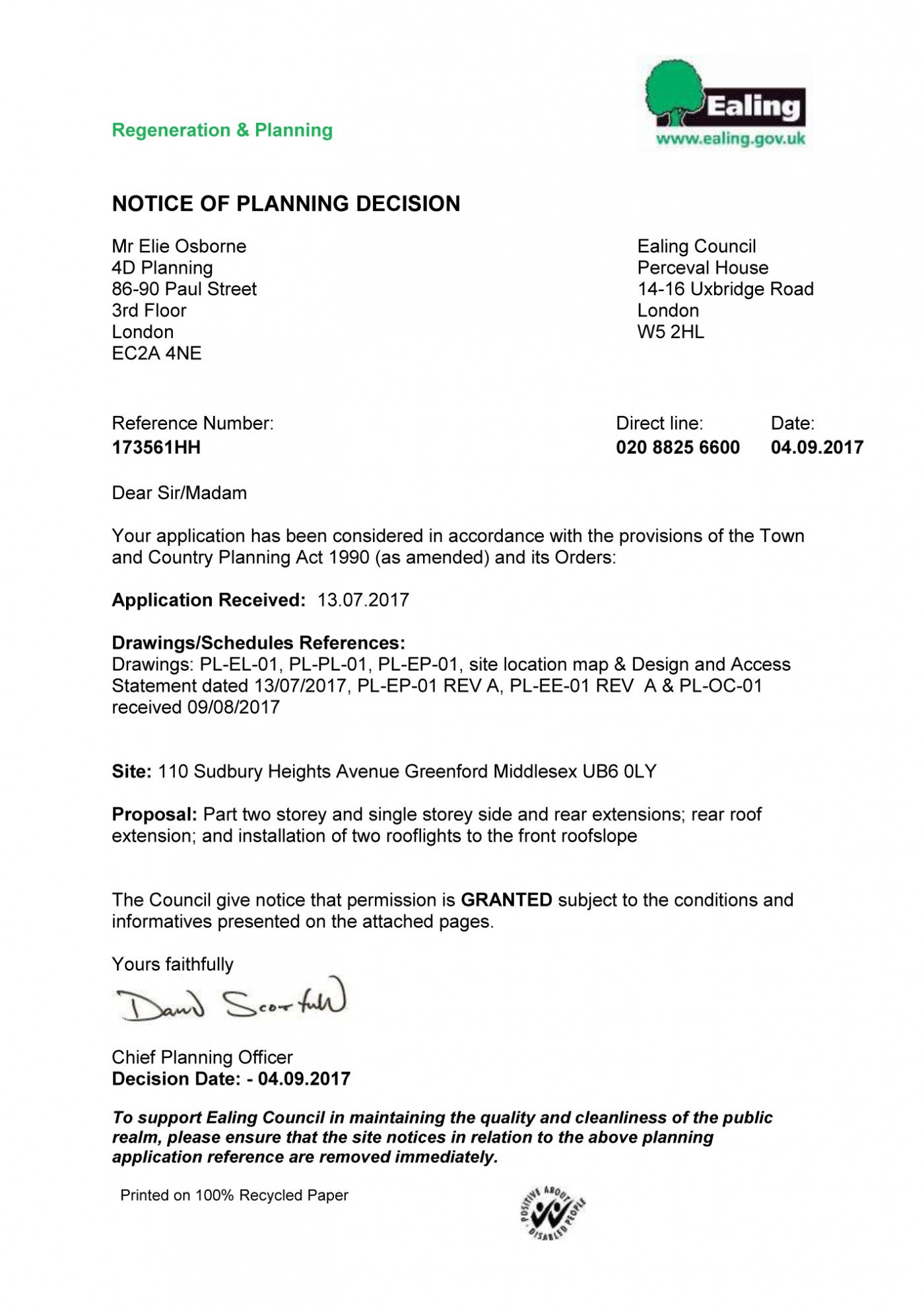 Decision Notice - Ealing Council Granted Permission