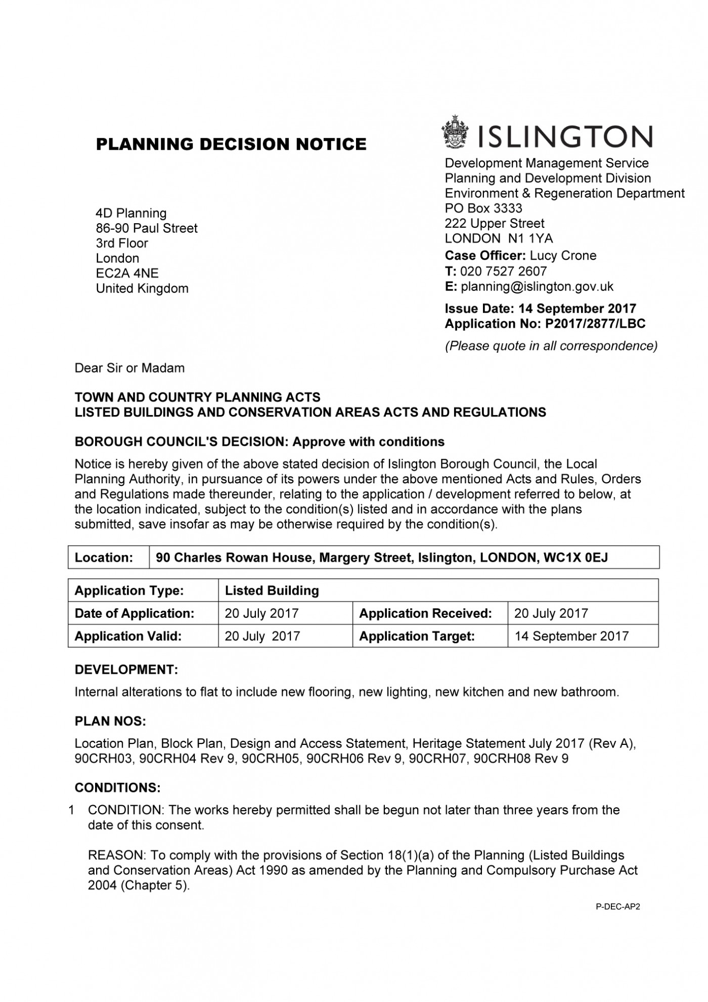 decision notice - Islington