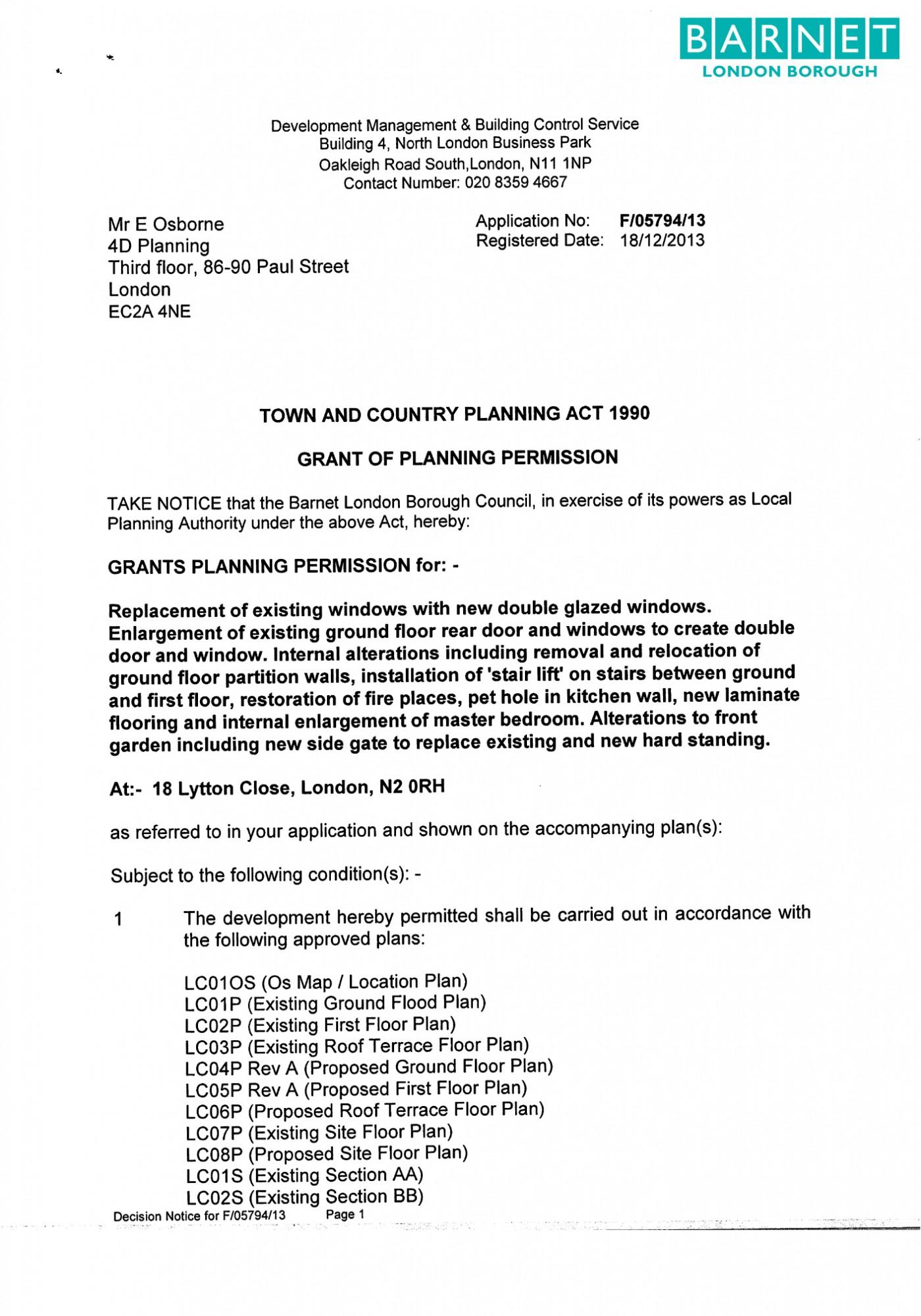 Barnet Council Decision Notice - Granted Planning Permission