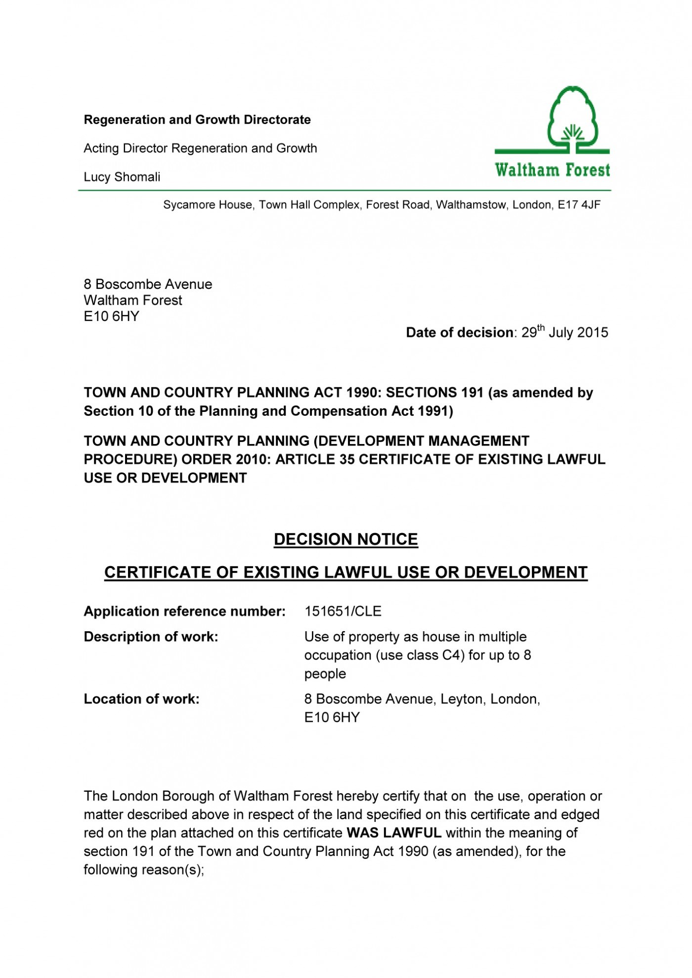 Decision notice - Waltham Forest