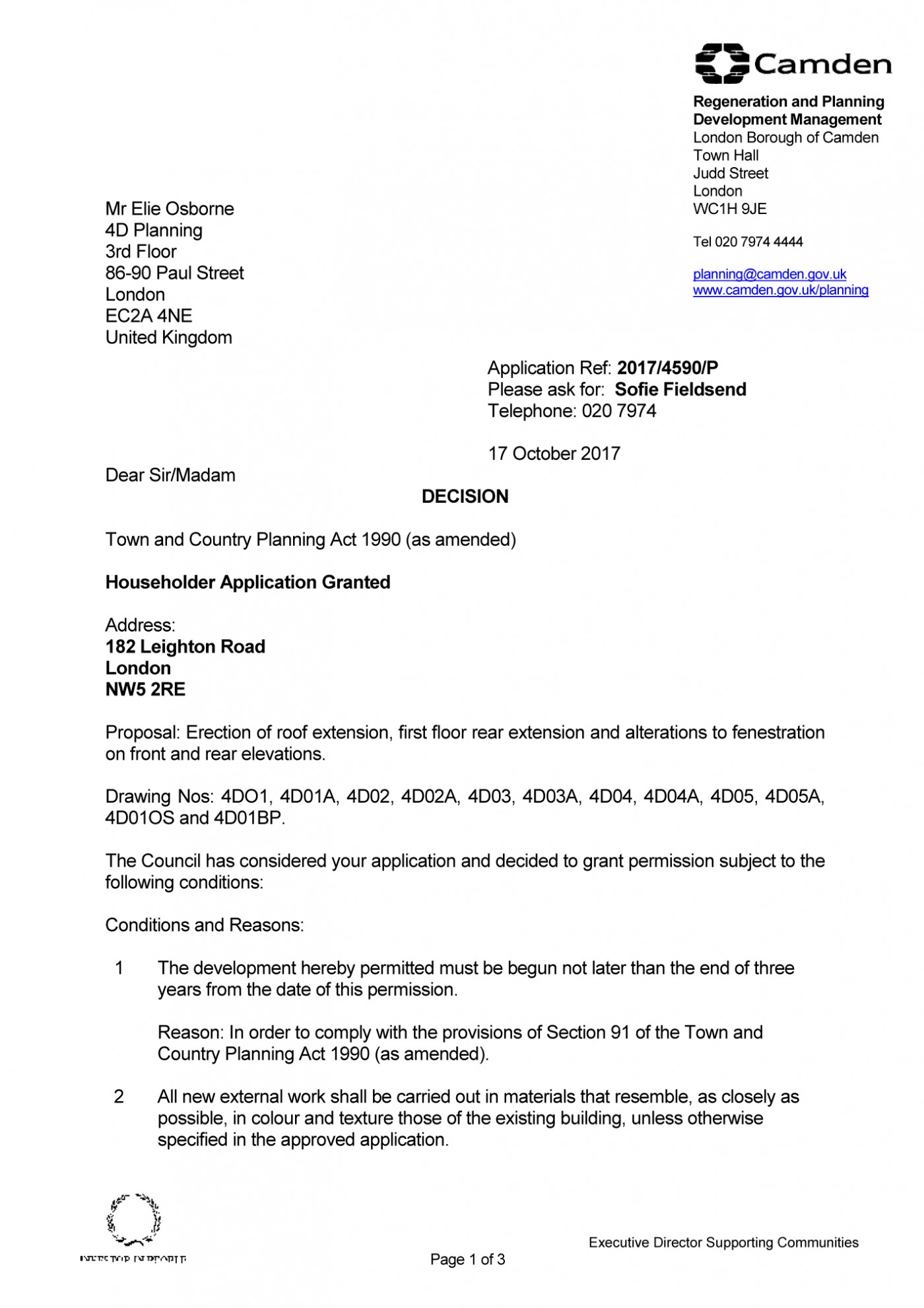 Camden Council Decision Notice - Granted Planning Permission