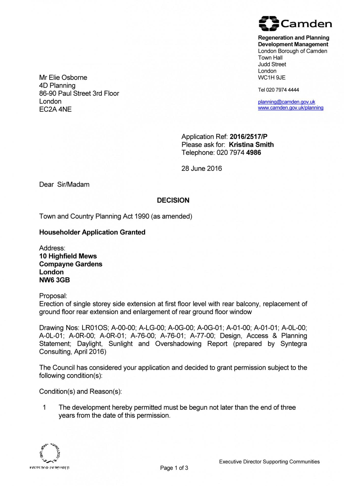 decision notice - Camden Council