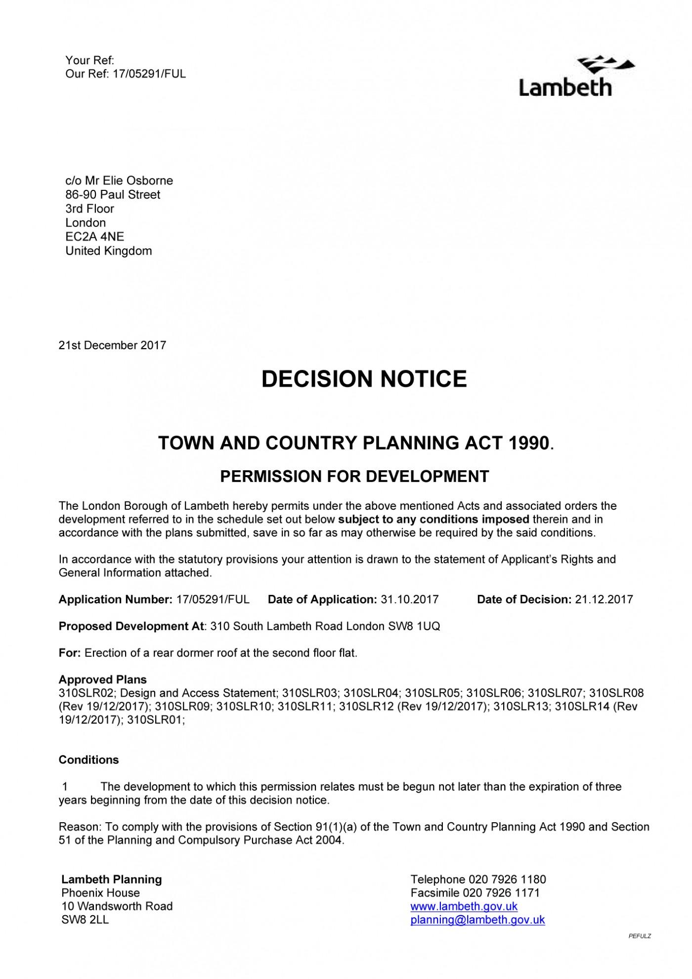 decision notice - Lambeth Council