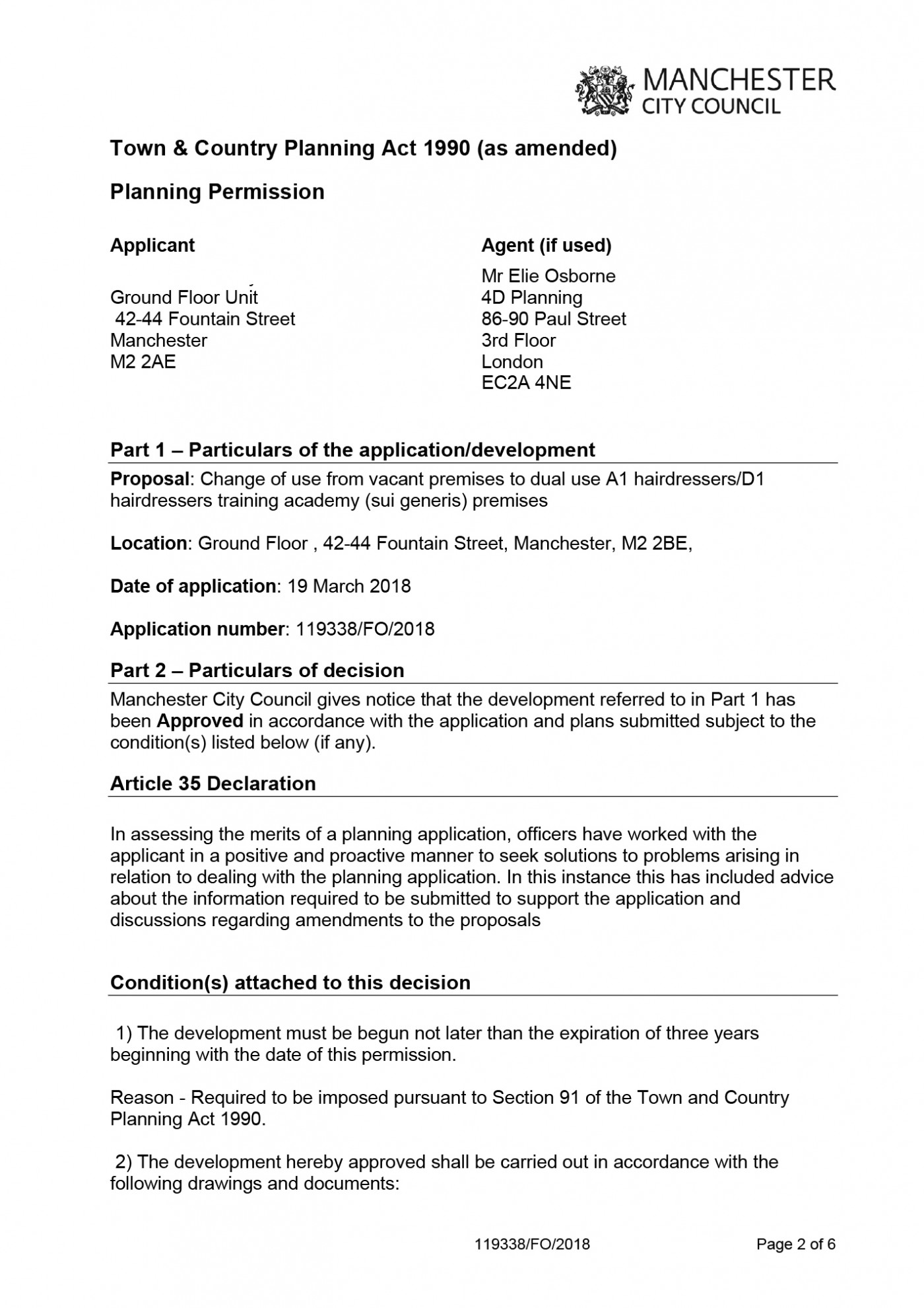 Manchester City Council Decision Notice - Planning Permission Granted