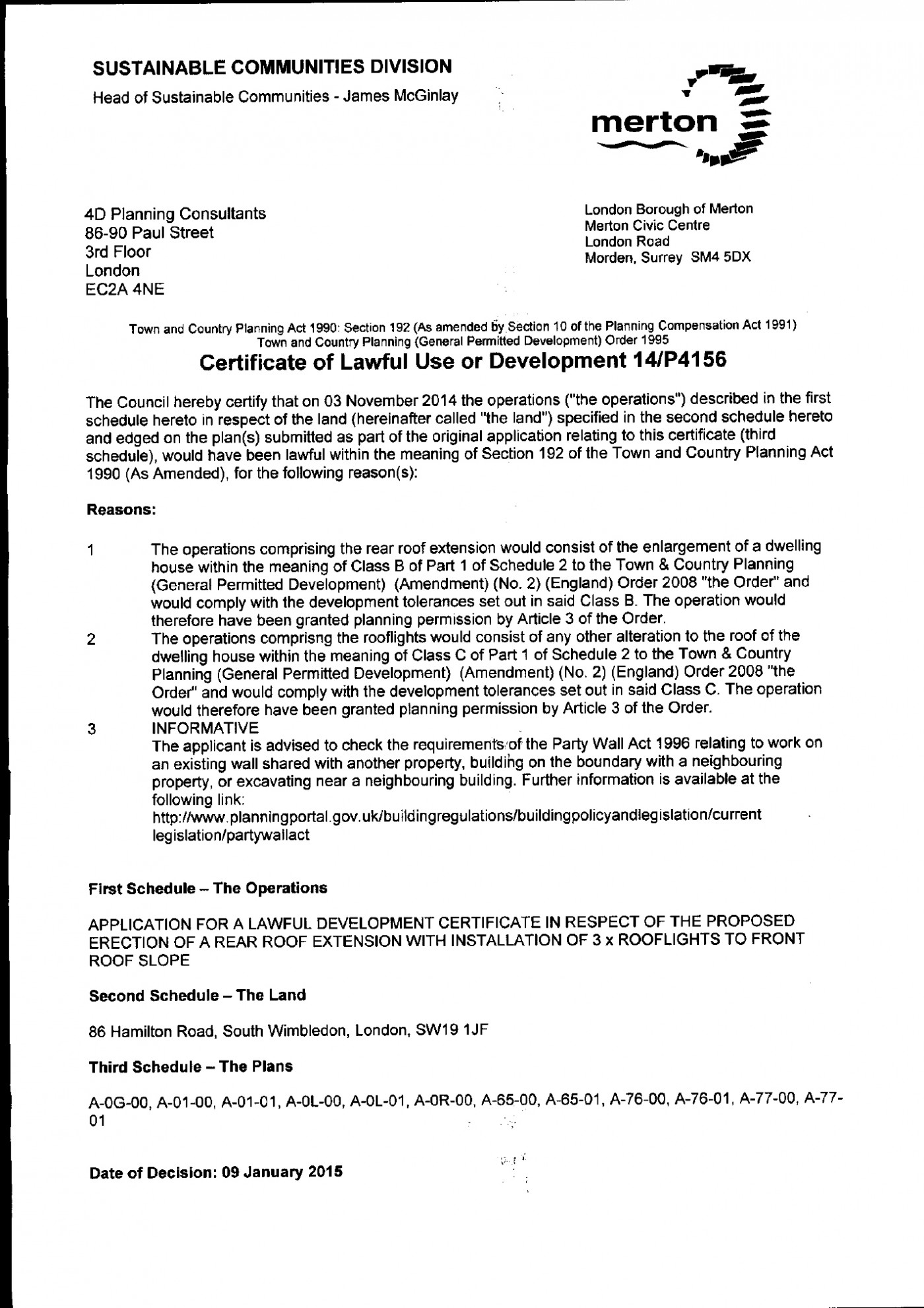 Merton Council Decision Notice - Planning Permission Granted