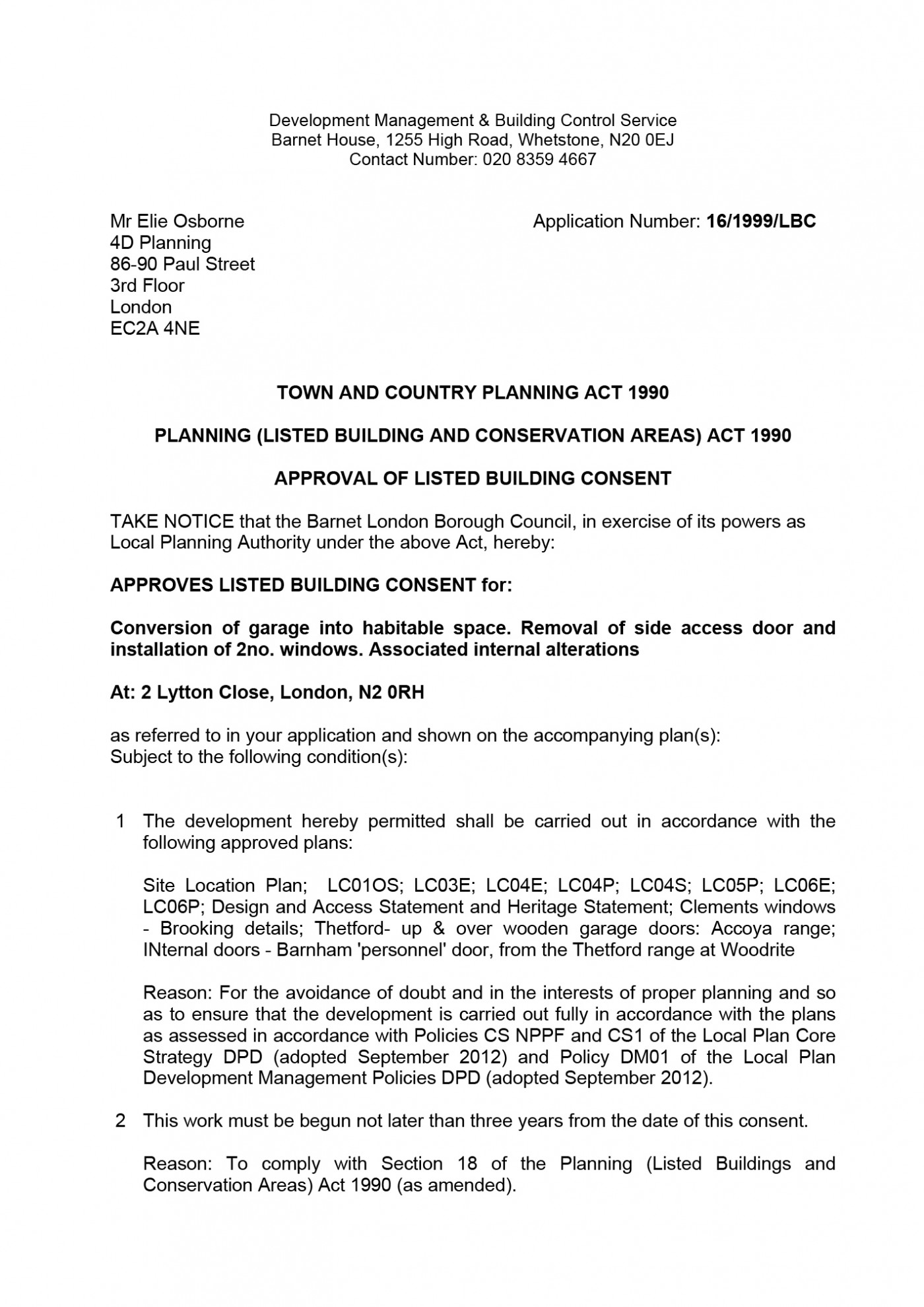 Barnet Council Decision Notice - Granted Planning Permission