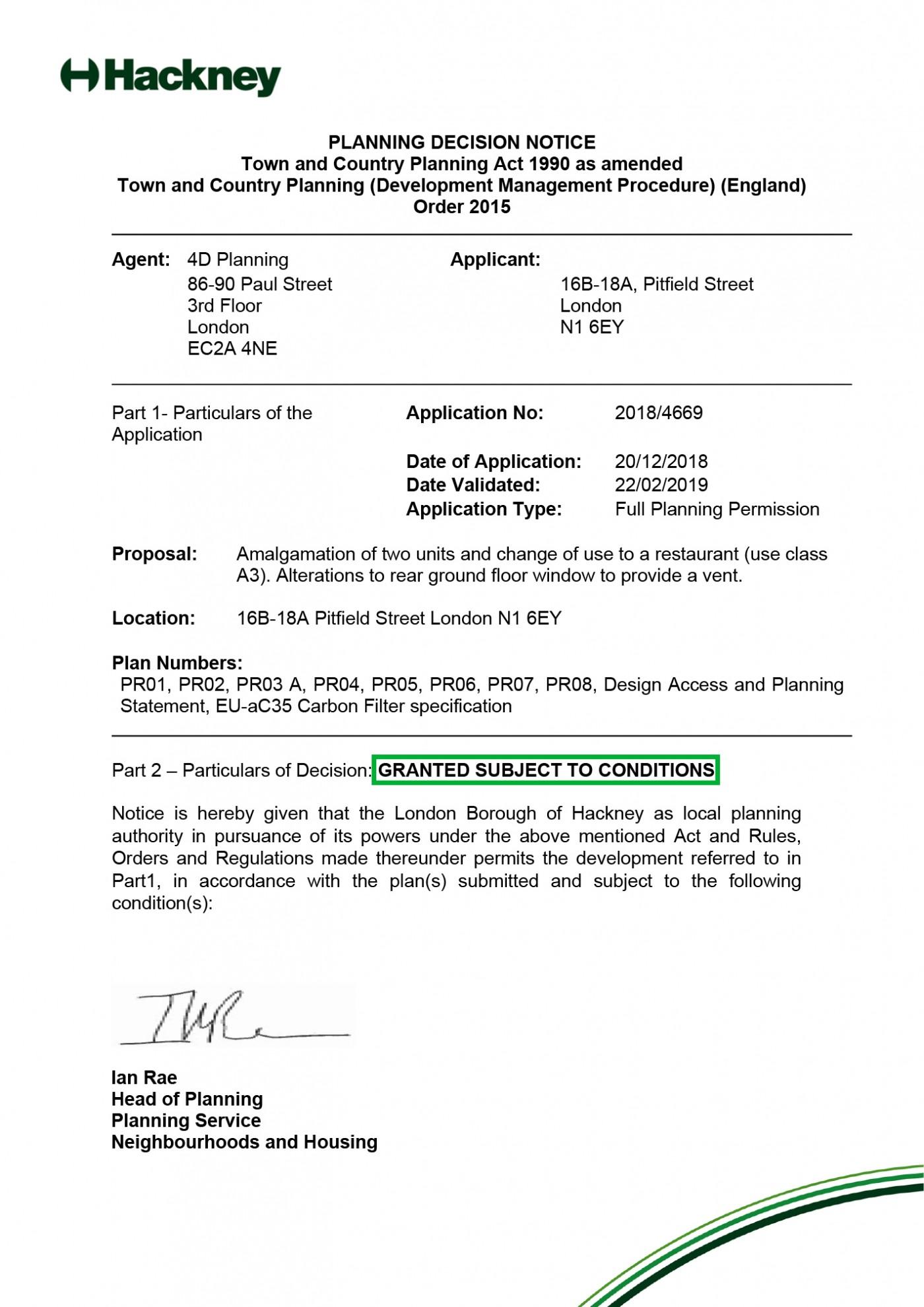 decision notice Hackney Council