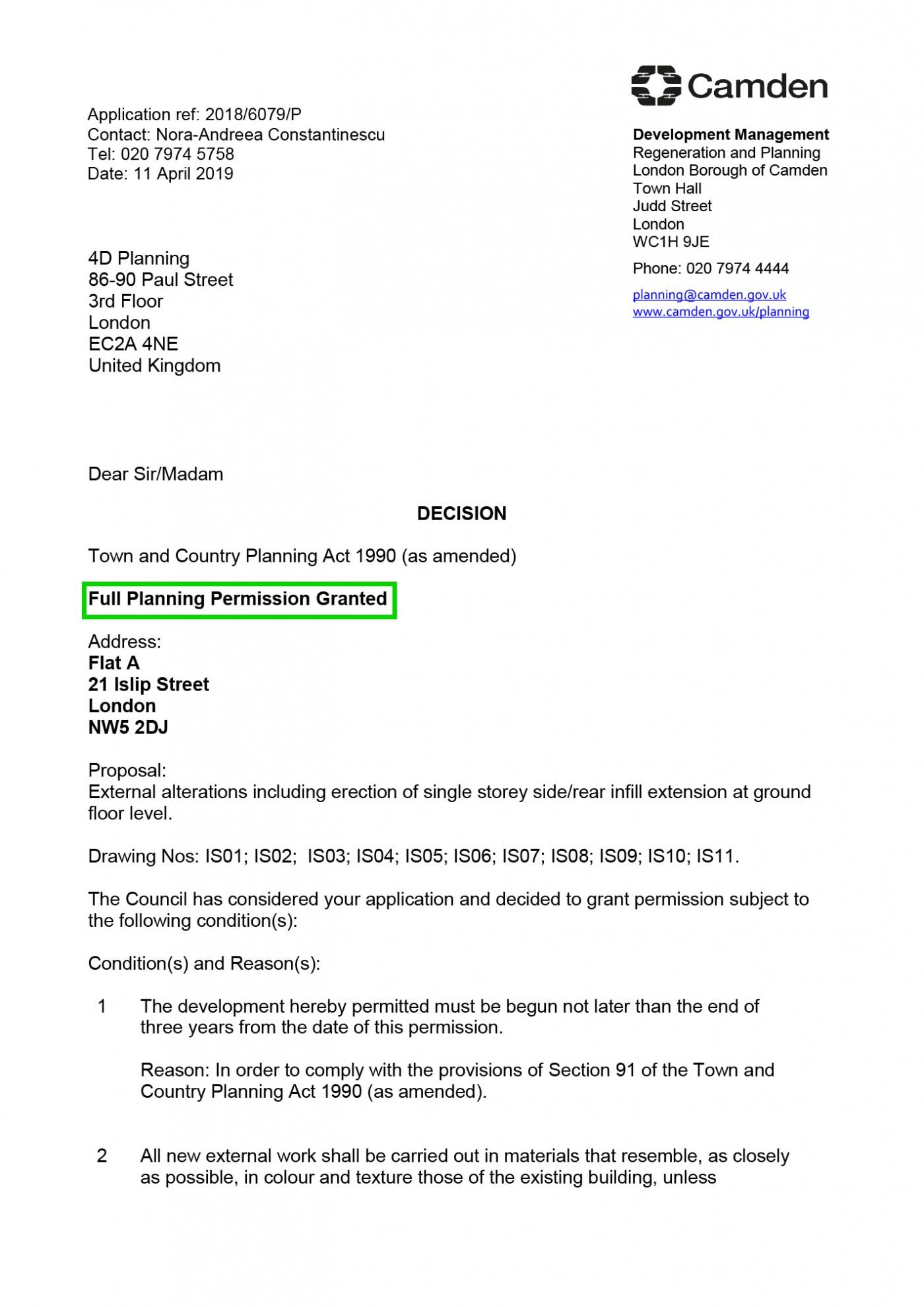 decision notice Camden Council