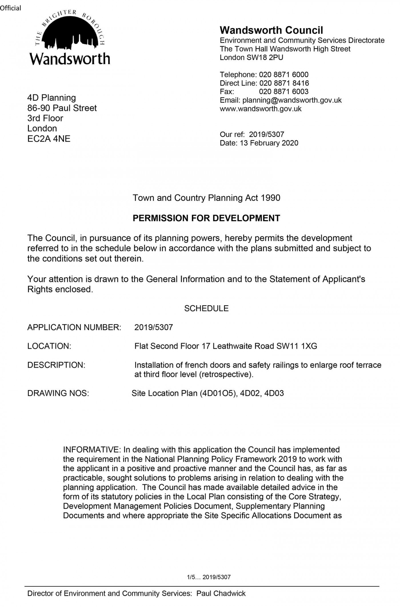 Wandsworth Council Decision Notice Planning Permission Granted