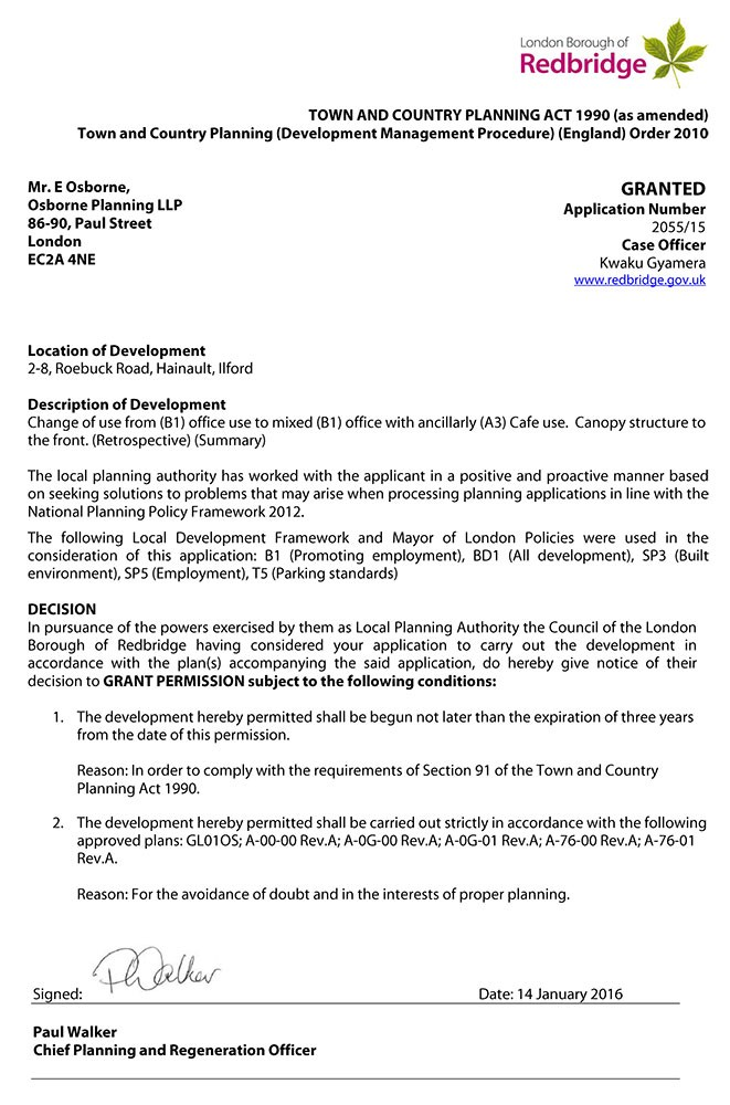 Redbridge Council Decision Notice - Granted Planning Permission