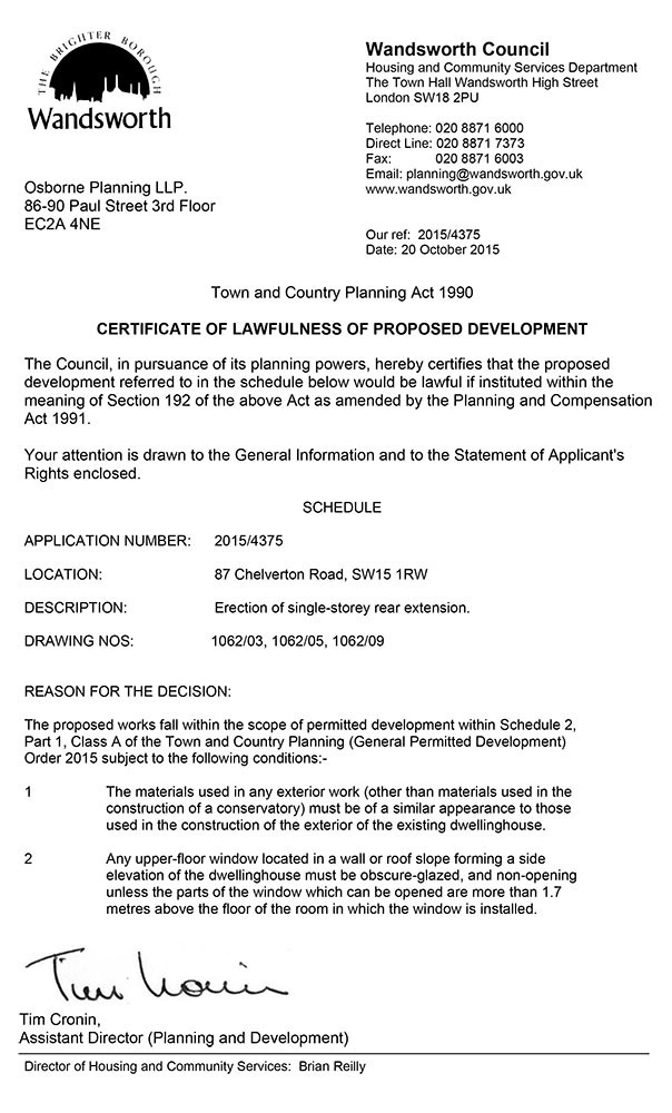Wandsworth Decision Notice - Planning Permission Granted