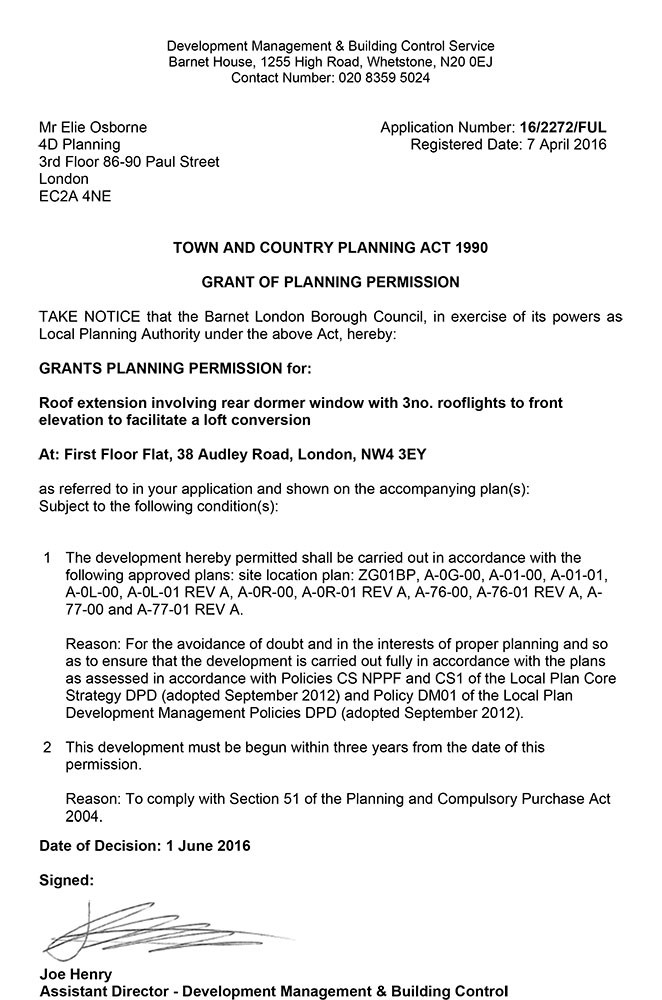Approval Notice - Barnet Council