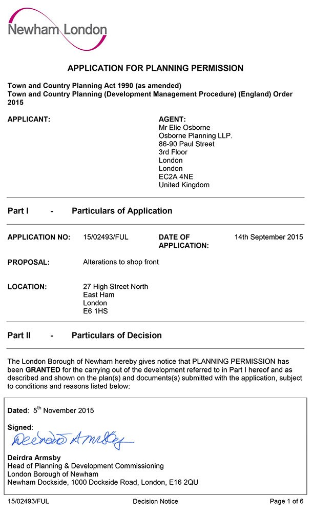 Approval Notice - Newham Council