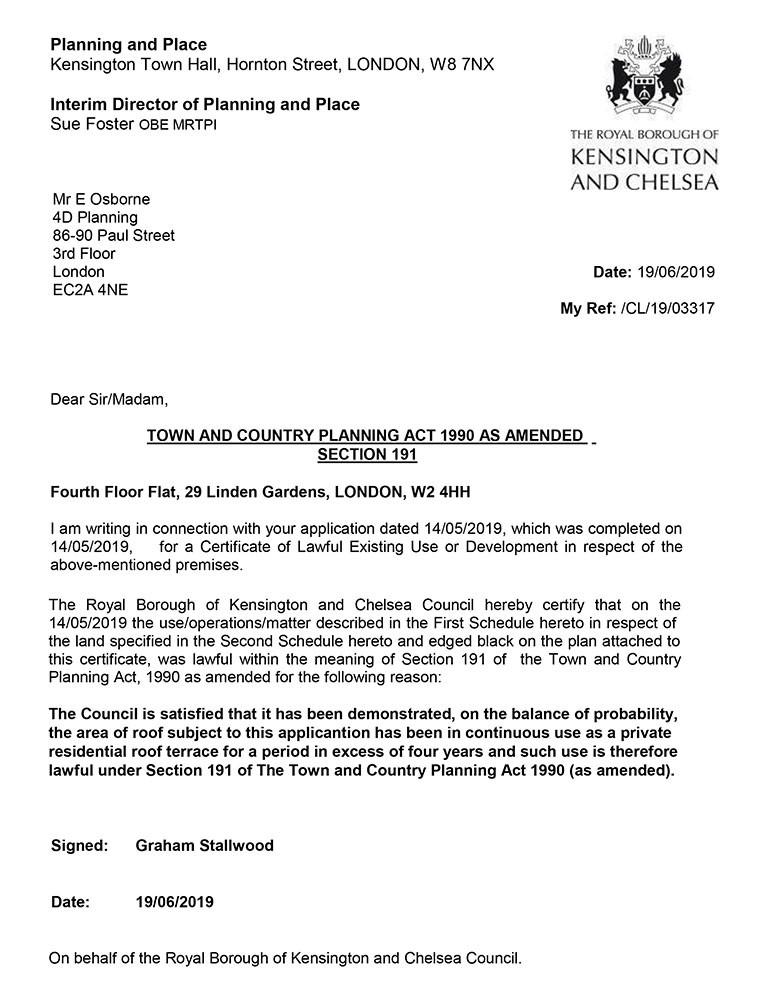 Approval Notice - Kensington & Chelsea Borough