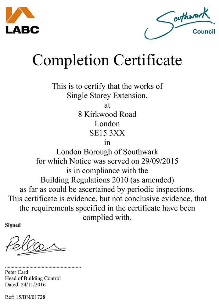 Approval Notice - Southwark Council