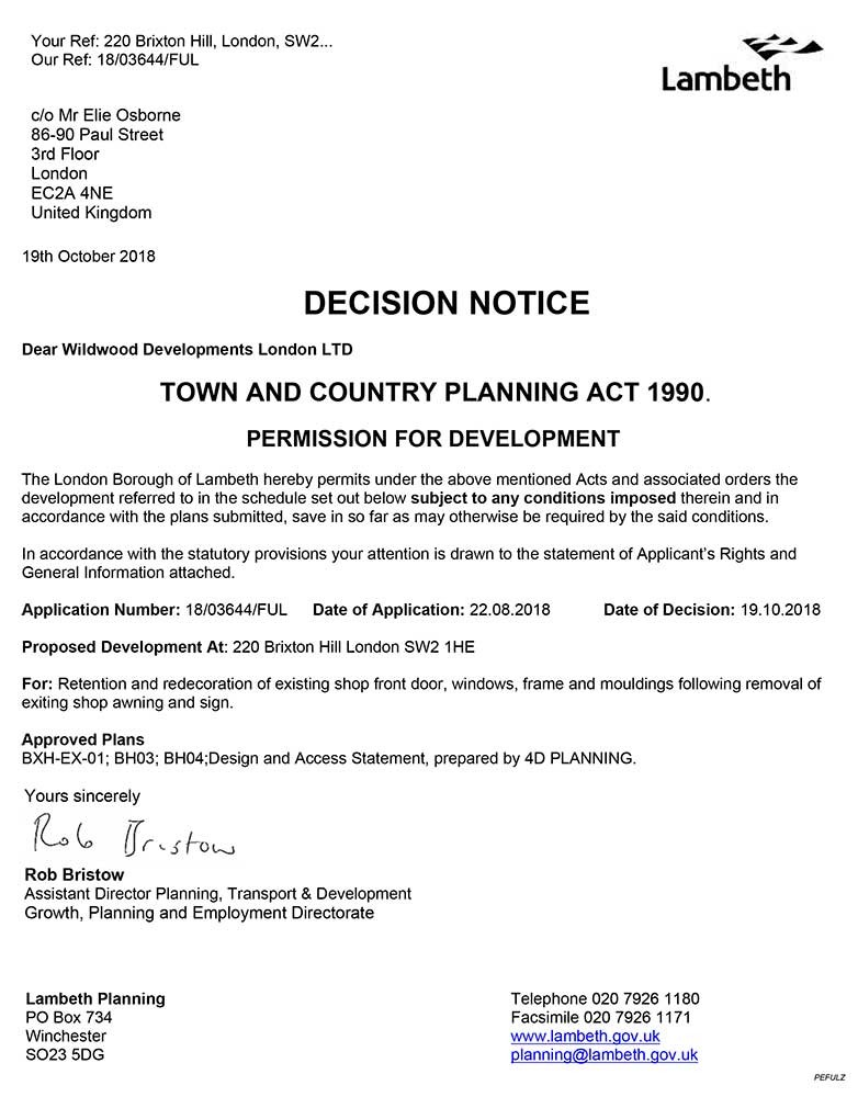 Approval Notice - Lambeth Council