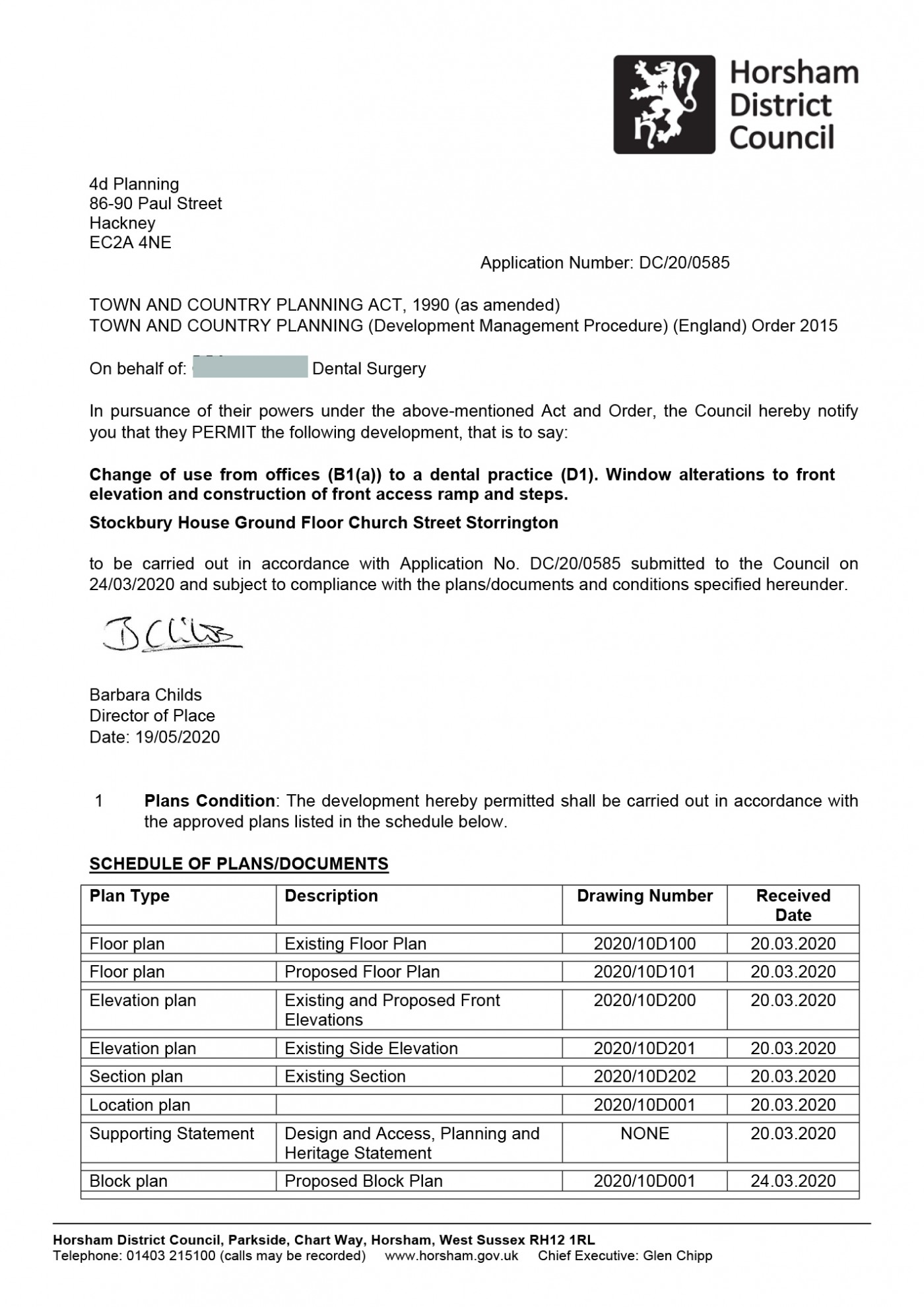 Approval Notice - Horsham Council