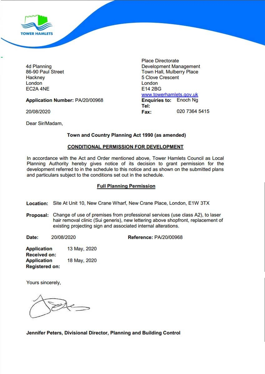 Approval Notice - Tower Hamlets