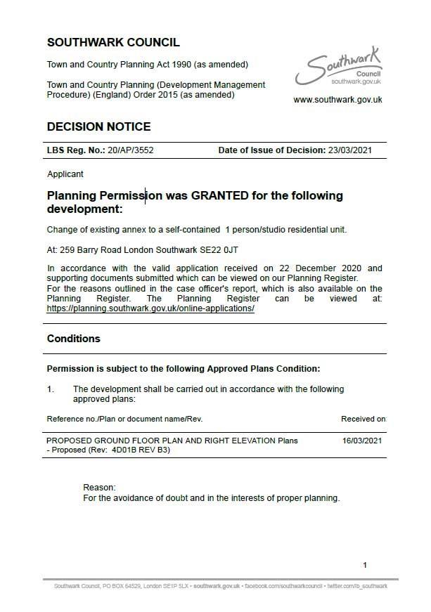 Decision Notice -  Southwark Council