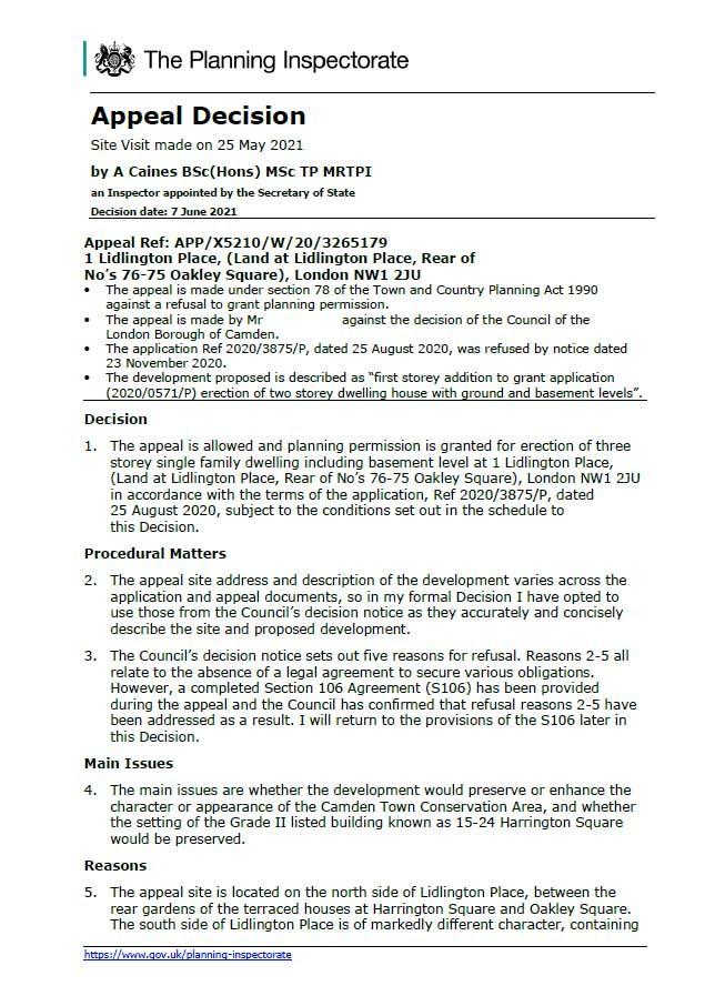 Appeal Decision - Camden Council