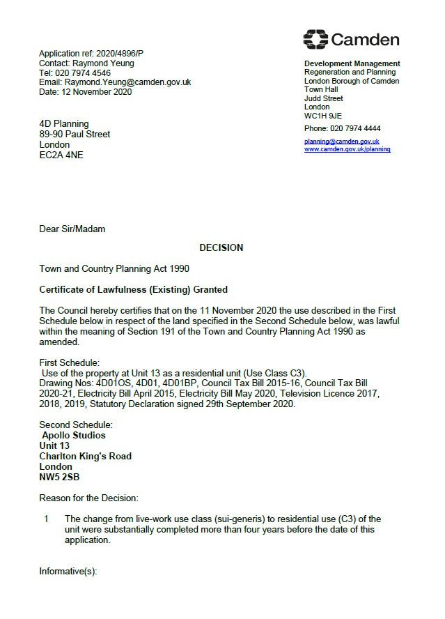 Approval Notice - Camden Council