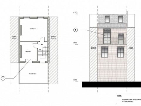 Roof terrace drawings - plan and elevation