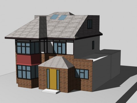 Roof extension with a rear wraparound dormer windows