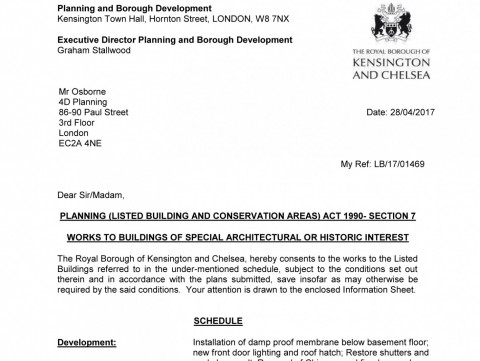 Decision notice - RBKC - listed building consent