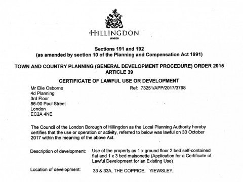 Certificate of Lawful Development for Use of Property as two flats