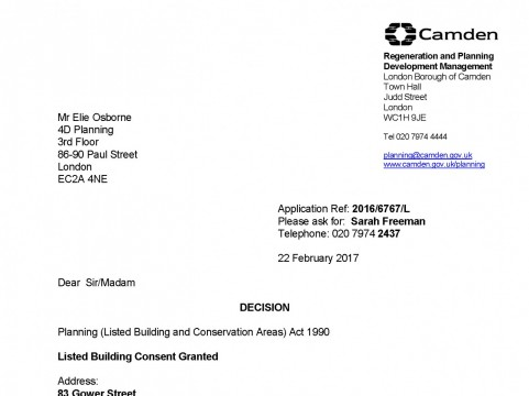 Listed building consent for internal alterations to hotel