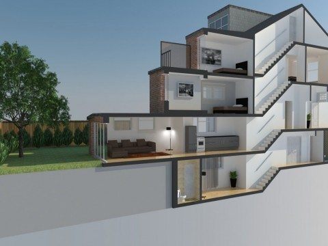 Cross Section of conversion to flats, basement and extensions 2