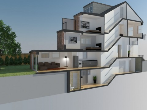 Cross Section of conversion to flats, basement conversion and extensions