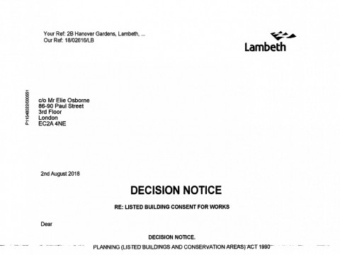 Listed building consent for replacement of doors to flat