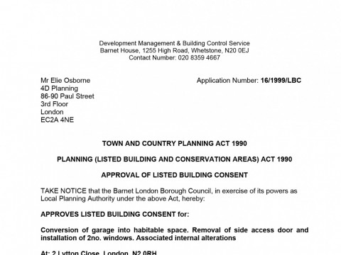 Listed Building Consent for garage conversion, installation windows