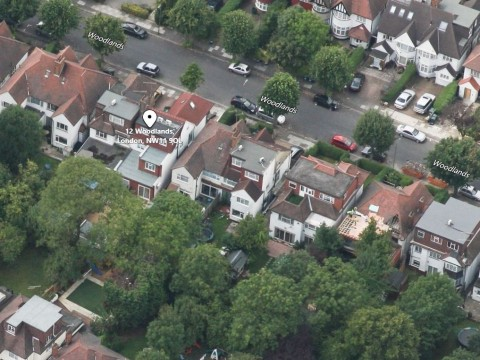 Aerial Bird's eye view of property