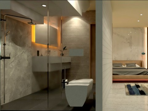 Internal render - ensuite bathroom