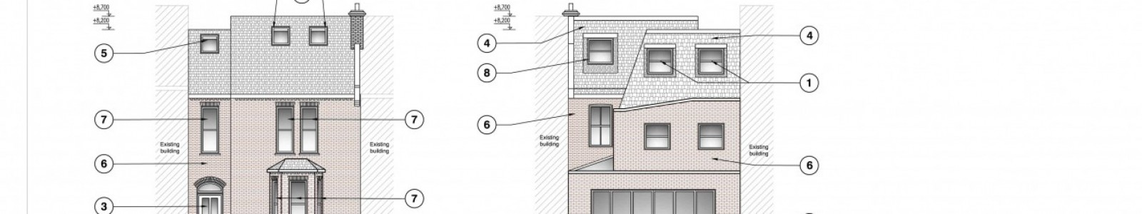 Roof extension, double storey side extension, single storey rear extension