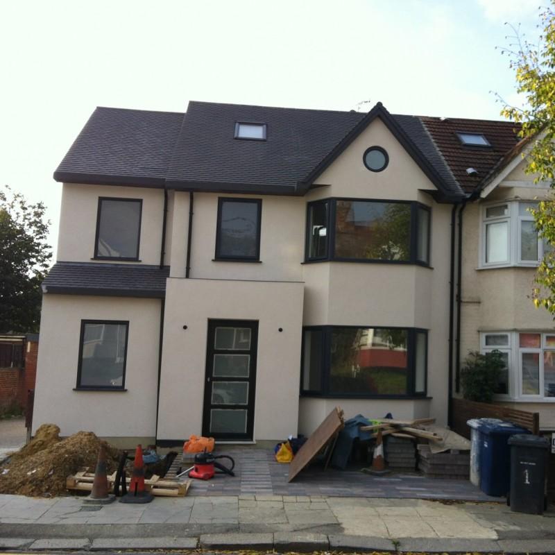 Double storey side, single storey rear extension, roof extension