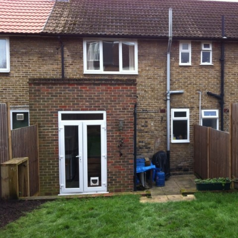 Single storey rear extension with decking